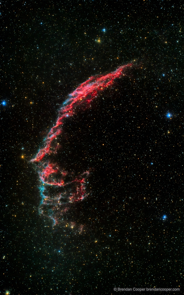 NGC 6992, the Eastern Veil Nebula. Bit scary. Click for full size (even scarier).